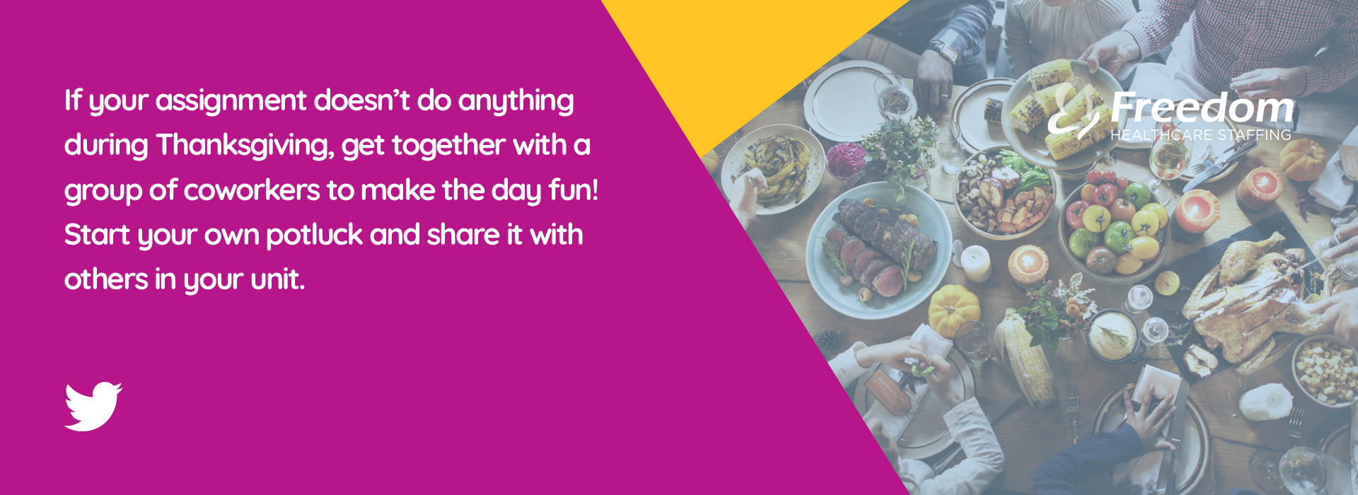 If your assignment doesn't do anything during Thanksgiving, get together with a group of coworkers to make the day fun! Start your own potluck and share it with others in your unit.